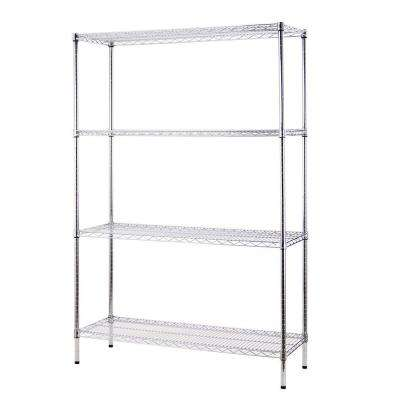 48 in. W x 72 in. H x 18 in. D All Purpose Heavy Duty 4-Tier Wire Shelving, Chrome