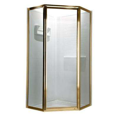 Prestige 69 in. x 68-1/2 in. Neo-Angle Shower Door in Gold with Clear Glass