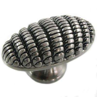 1.87 in. Satin Nickel Antique Honeycomb Egg Knob