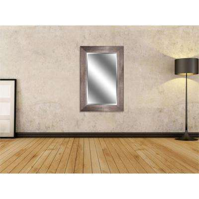 Reflection 24 in. x 36 in. Bevel Style Framed Bronze with Woodgrain Finish Mirror