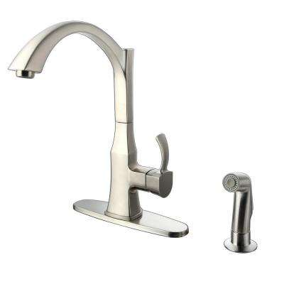 Single-Handle Standard Kitchen Faucet with Side Sprayer in Stainless Steel