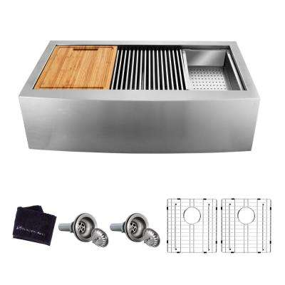 All-in-One Apron-Front Farmhouse Stainless Steel 33 in. 50/50 Double Bowl Workstation Sink with Accessory Kit