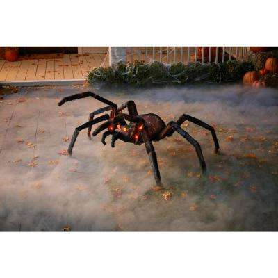 4 ft. LED Orange Lighted Jungle Spider with Red Eyes