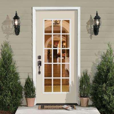 15 Lite Painted Steel Prehung Front Door with Brickmold