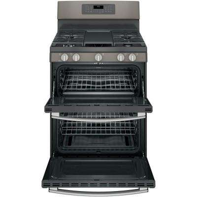 6.8 cu. ft. Double Oven Gas Range with Self-Cleaning and Convection Lower Oven in Slate, Fingerprint Resistant