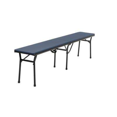 6 ft. Indoor and Outdoor Center Fold Tailgate Bench with Carrying Handle in Dark Blue Bench Top with Black Frame (2 PK)