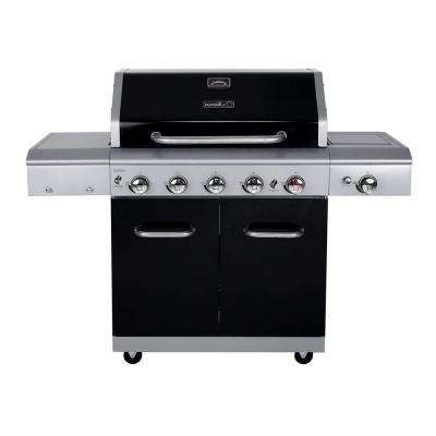 Deluxe 5-Burner Gas Grill with Side Burner and Searing Zone in Black with Stainless Steel Control Panel