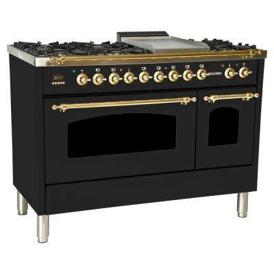 48 in. 5.0 cu. ft. Double Oven Dual Fuel Italian Range  True Convection,7 Burners,Griddle,LP Gas,Brass Trim/Glossy Black