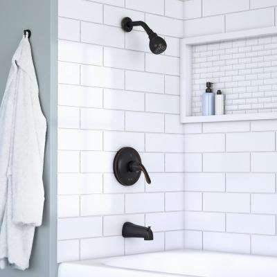 Builders Single-Handle 1-Spray Tub and Shower Faucet in Bronze (Valve Included)