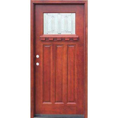 36 in. x 80 in. Craftsman 1 Lite Stained Mahogany Wood Prehung Front Door with Dentil Shelf 6 in. Wall Series