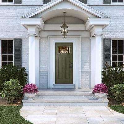 36 in. x 80 in. Left-Hand 1-Lite Craftsman Ardsley Juniper Stained Fiberglass Prehung Front Door with Brickmould