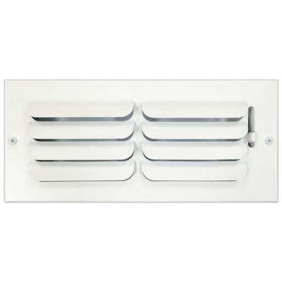 4 in. x 10 in. Ceiling or Wall Register with Curved Single Deflection, White