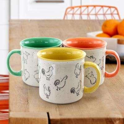 20.9 oz. Assorted Stoneware Mugs (Set of 3)