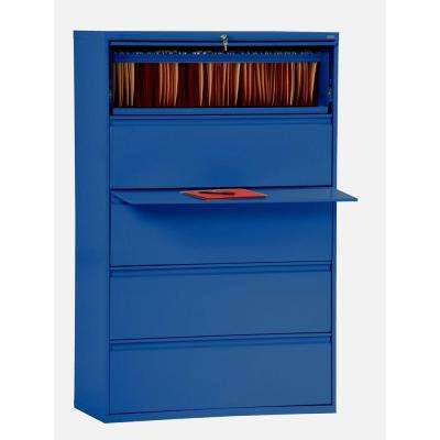 800 Series 42 in. W 5-Drawer Full Pull Lateral File Cabinet in Blue