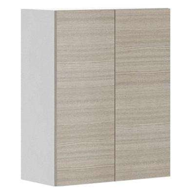 Ready to Assemble 24x30x12.5 in. Geneva Wall Cabinet in White Melamine and Door in Silver Pine