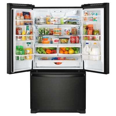 25 cu. ft. French Door Refrigerator in Black with Internal Water Dispenser