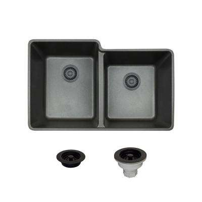 All-in-One Undermount Composite 33 in. Double Basin Kitchen Sink in Black