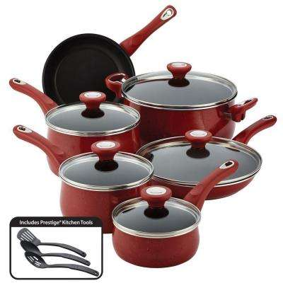 New Traditions Speckled Aluminum Nonstick 14-Piece Cookware Set in Red