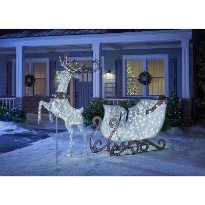 Sweet Serenity 70 in. 180-Light LED White PVC Sleigh