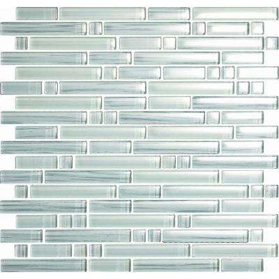 Brushstrokes Bianco-1506 S Strips Mosaic Glass 12 in. x 12 in. Mesh Mounted Tile (5 Sq. Ft./Case)