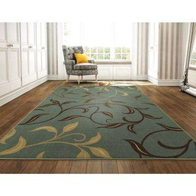 Ottohome Collection Contemporary Leaves Design Seafoam 8 ft. x 10 ft. Area Rug