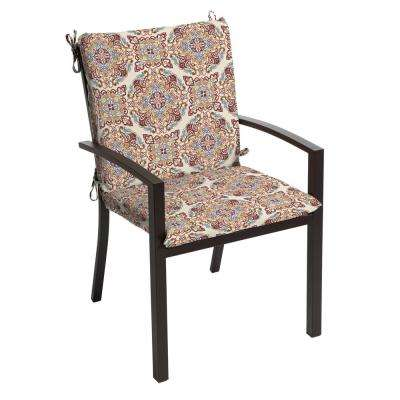 20 in. x 19 in. Chili Medallion Outdoor Mid Back Dining Chair Cushion