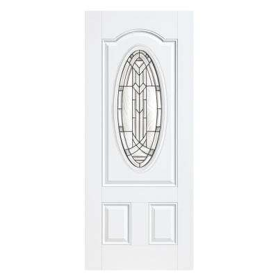 36 in. x 80 in. Chatham Three Quarter Oval Lite Primed Smooth Fiberglass Prehung Front Door with No Brickmold