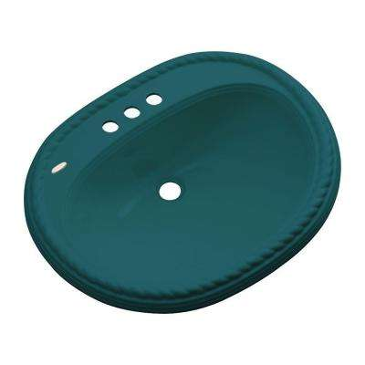 Malibu Drop-In Bathroom Sink with Faucet Hole in Teal