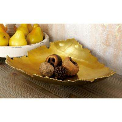 15 in. x 4 in. Gold Aluminum Free-Form Bowled Tray