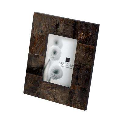 Buffalo Horn 1-Opening 5 in. x 7 in. Brown Horn Picture Frame
