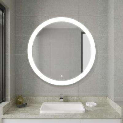 24.00 in. x 32.00 in. White Frameless LED Lighted Bathroom Mirror Round