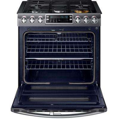Flex Duo 5.8 cu. ft. Slide-In Double Oven Gas Range with Self-Cleaning in Fingerprint Resistant Black Stainless Steel