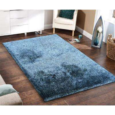 """""""Fuzzy Shaggy"""" Hand Tufted Area Rug in Blue (5-ft x 7-ft)"""