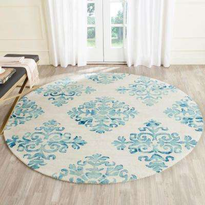 Dip Dye Ivory/Light Blue 7 ft. x 7 ft. Round Area Rug