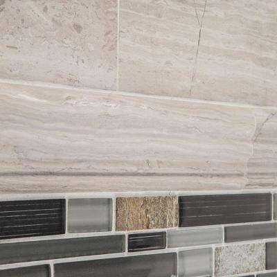 Stone Grey 2 in. x 12 in. Limestone Crown Wall Accent Tile