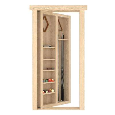 30 in. x 80 in. Flush Mount Assembled Pool Cue Door Oak Unfinished Right Hand Out Swing