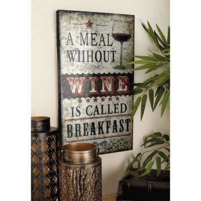 12 in. x 21 in. Kitchen Whimsy Wine Metal Wall Plaque