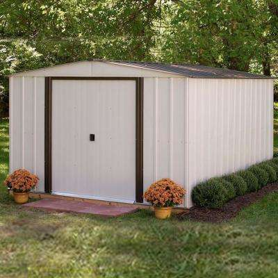Newport 10 ft. x 12 ft. 2-Tone Eggshell and Coffee Galvanized Metal Shed with Galvanized Steel Floor Frame Kit