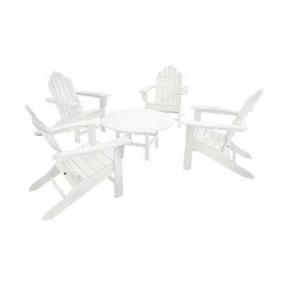 Long Island White 5-Piece Adirondack Patio Conversation Group Set