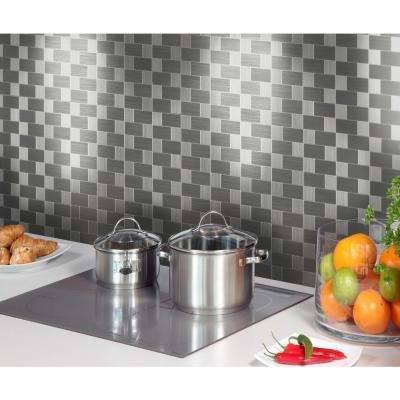12 in. x 12 in. x 6 mm Peel and Stick Brushed Stainless Metal Wall Tile