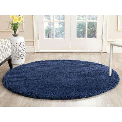 Milan Shag Navy 5 ft. 1 in. x 5 ft. 1 in. Round Area Rug