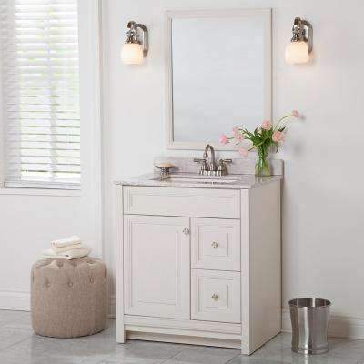 Brinkhill 31 in. W x 22 in. D Bathroom Vanity in Cream with Stone Effect Vanity Top in Winter Mist with White Sink