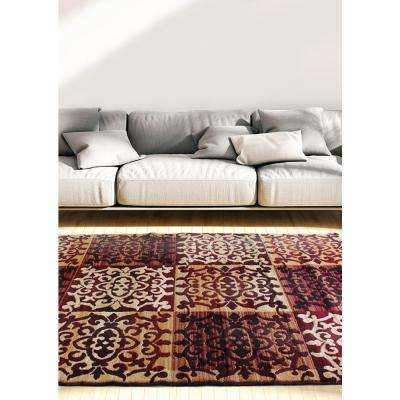 Crown Burgundy, Ivory 5 ft. x 8 ft. Area Rug