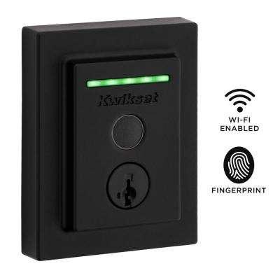 Halo Touch Matte Black Contemporary Fingerprint Wi-Fi Electronic Smart Lock Deadbolt Featuring SmartKey Security