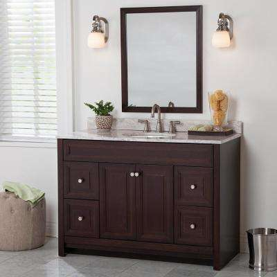 Brinkhill 49 in. W x 22 in. D Bathroom Vanity in Chocolate with Stone Effect Vanity Top in Winter Mist with White Sink