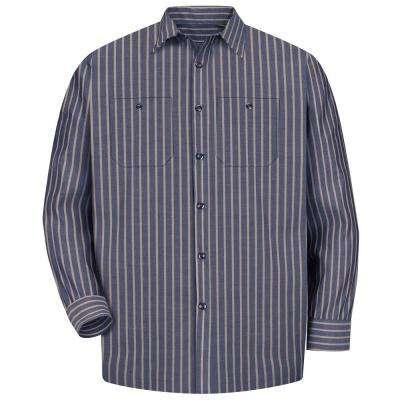 Men's Navy and Khaki Stripe Long-Sleeve Work Shirt