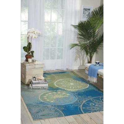 Home and Garden Blue 10 ft. x 13 ft. Indoor/Outdoor Area Rug