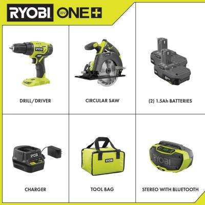 18-Volt ONE+ Cordless 2-Tool Drill/Driver and Circular Saw Combo Kit with Hybrid Stereo