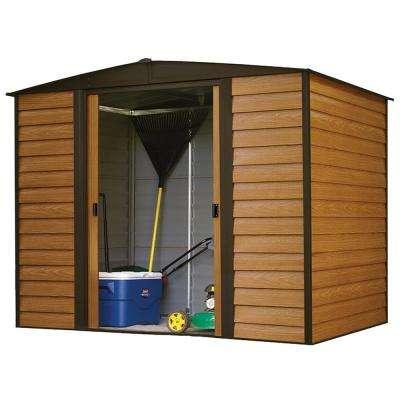 Woodridge 8 ft. W x 6 ft. D Wood-grain Galvanized Metal Storage Building