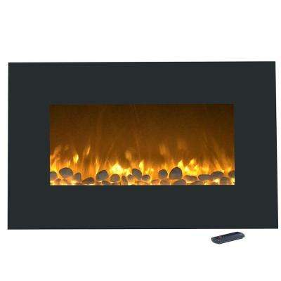 36 in. Electric Fireplace Color Changing Wall Mount Floor Stand in Black